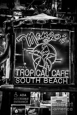 Leaning On Mango's South Beach Miami - Black And White Poster by Ian Monk