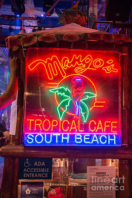 Leaning On Mango's South Beach Miami Poster by Ian Monk