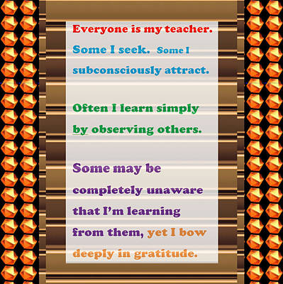 Learning Observation Teacher Student Gratitude Background Designs  And Color Tones N Color Shades Av Poster by Navin Joshi