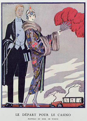 Leaving For The Casino Poster by Georges Barbier