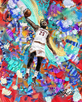 Lebron James 2 Poster by Donald Pavlica