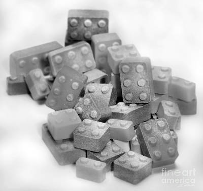 Lego Candy Blocks In Black And White Poster by Iris Richardson