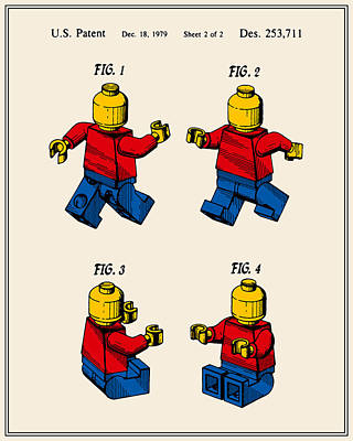 Lego Man Patent - Colour - Version Three Poster by Finlay McNevin