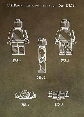 Lego Man Patent Poster by Dan Sproul