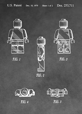Lego Minifig Patent Poster by Dan Sproul