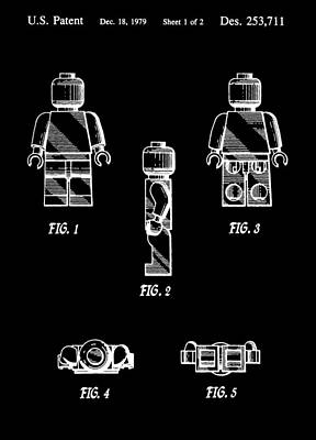 Lego Minifigurine Patent Poster by Dan Sproul