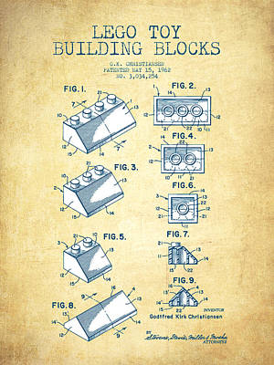 Lego Toy Building Blocks Patent - Vintage Paper Poster by Aged Pixel