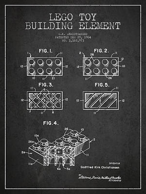 Lego Toy Building Element Patent - Dark Poster by Aged Pixel