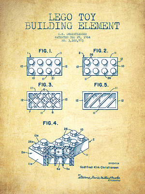Lego Toy Building Element Patent - Vintage Paper Poster by Aged Pixel