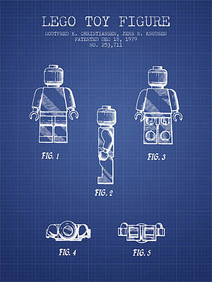 Lego Toy Figure Patent From 1979- Blueprint Poster by Aged Pixel