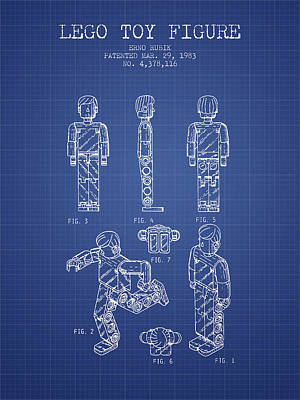 Lego Toy Figure Patent From 1983- Blueprint Poster by Aged Pixel