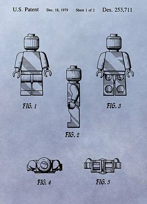 Lego Toy Patent Poster by Dan Sproul