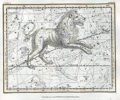 Leo Constellation, Zodiac, 1822 Poster by U.S. Naval Observatory Library
