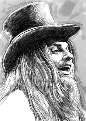 Leon Russell Art Drawing Sketch Portrait Poster by Kim Wang