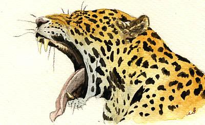 Leopard Head Poster by Juan  Bosco
