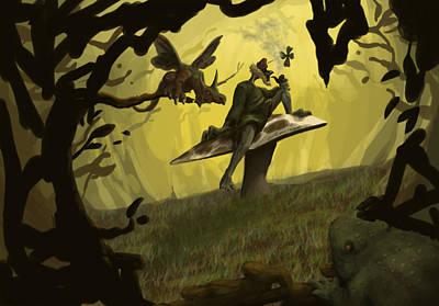 Leprechaun Sitting On A Toadstool Poster by Joseph Vallejo