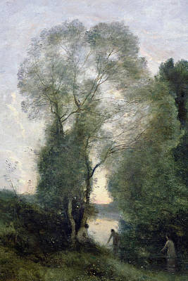 Les Baigneuses Poster by Jean Baptiste Camille Corot