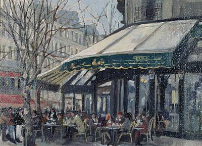 Les Deux Magots, St Germain Des Pres, Paris, 1998 Oil On Canvas Poster by Rosemary Lowndes