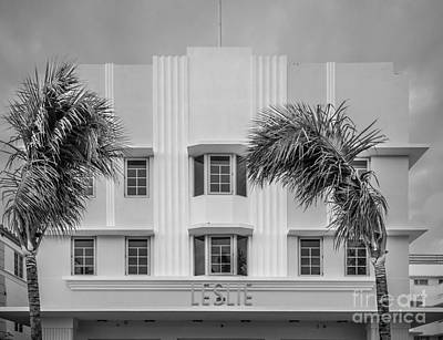Leslie Hotel South Beach Miami Art Deco Detail 3 - Black And White Poster by Ian Monk