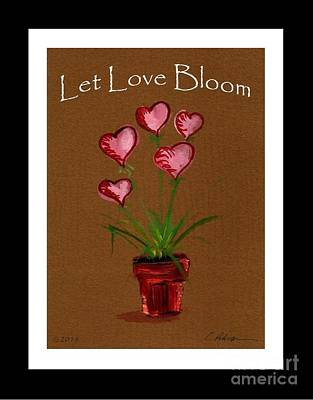 Let Love Bloom.  Pink Heart Blossoms In Terracotta Pot  Poster by Cathy Peterson
