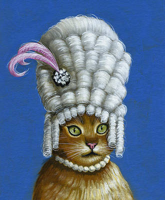 Let Them Eat Cake ... Humorous Marie Antoinette Cat Art Poster by Amy Giacomelli