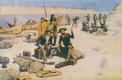 Lewis And Clark At The Mouth Of The Columbia River Poster by Frederic Remington
