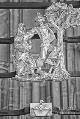 Libra Zodiac Sign - St Vitus Cathedral - Prague - Black And Whit Poster by Ian Monk