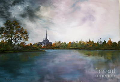 Lichfield Catherdral A View From Stowe Pool Poster by Jean Walker