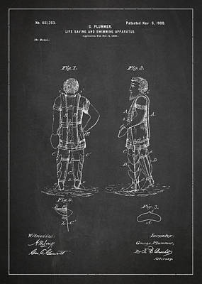 Life Saving And Swimming Apparatus Patent Drawing From 1900 Poster by Aged Pixel