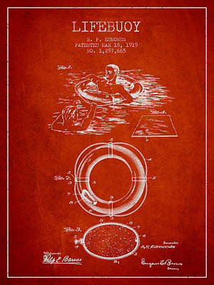 Lifebuoy Patent From 1919 - Red Poster by Aged Pixel