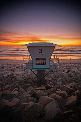 Lifeguard Tower At Dusk Poster by Peter Tellone