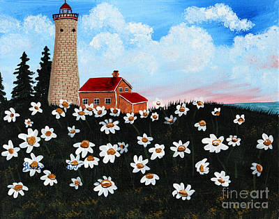 Lighthouse And Daisies Poster by Barbara Griffin