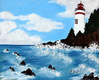 Lighthouse And Sunkers Poster by Barbara Griffin