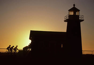 Lighthouse, Bicycling, Sunset, Santa Poster by Gerry Reynolds