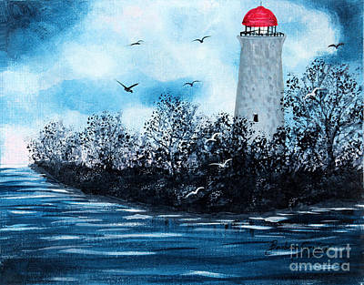 Lighthouse Blues Poster by Barbara Griffin