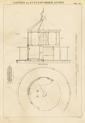 Lighthouse Lantern Drawing Poster by Jerry McElroy - Public Domain Image