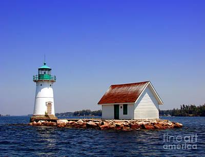 Lighthouse On The St Lawrence River Poster by Olivier Le Queinec