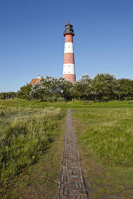 Lighthouse Westerhever And Stockenstieg Poster by Olaf Schulz