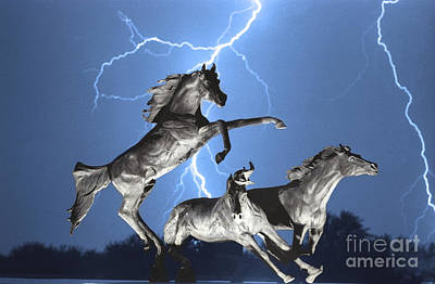 Lightning At Horse World Bw Color Print Poster by James BO  Insogna