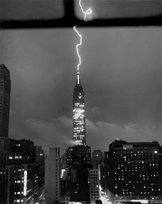 Lightning Hits Empire State Poster by Underwood Archives