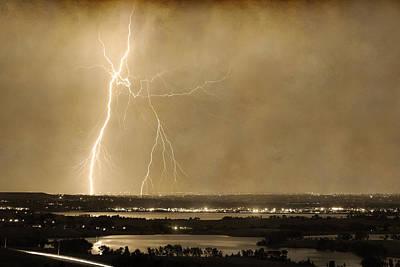 Lightning Strike Boulder Reservoir And Coot Lake Sepia 2 Poster by James BO  Insogna