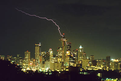 Lightning Strike In City Of Seattle Poster by King Wu