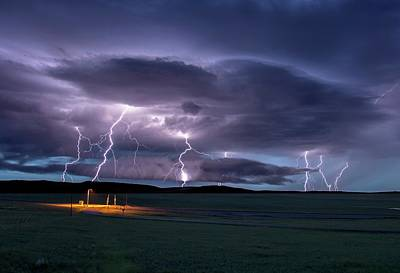 Lightning Strikes Poster by Roger Hill