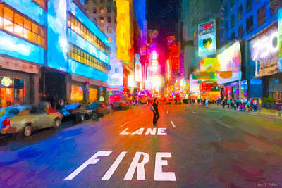 Lights Are Bright On Broadway - Times Square Poster by Mark Tisdale