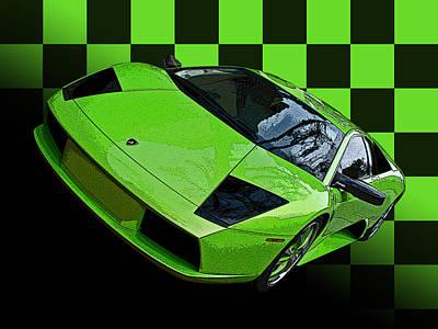Lime Green Lamborghini Murcielago With Checkerboard Poster by Samuel Sheats