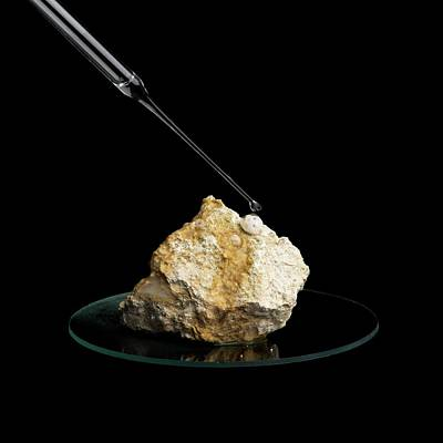 Limestone Reacting With Acid Poster by Science Photo Library