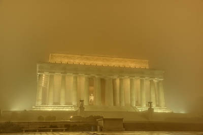 Lincoln Memorial In The Fog Poster by Metro DC Photography