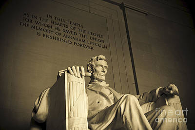 Lincoln Statue In The Lincoln Memorial Poster by Diane Diederich