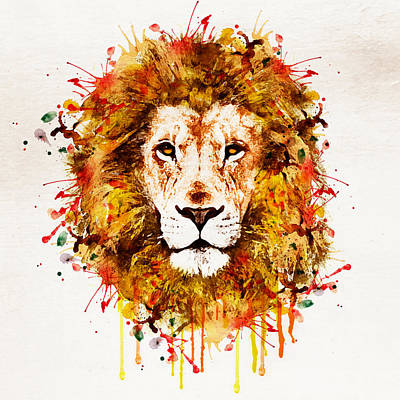 Lion Head Watercolor Poster by Marian Voicu