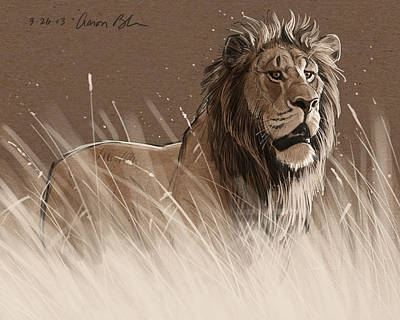 Lion In The Grass Poster by Aaron Blaise